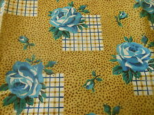 Antique Vintage French Cottage Roses Check Plaid Cotton Fabric ~ Mustard Blue