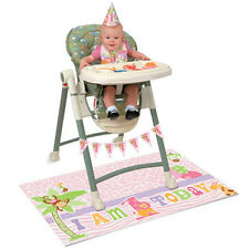 1st BIRTHDAY Pink Safari HIGH CHAIR DECORATING KIT (5pc) ~ Party Supplies Banner