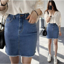 Korean Womens Bodycon Casual Denim Skirt High Waist A-line Mini Jeans Skirt