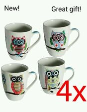 4  X COFFEE TEA DRINKING MUG CUP OWL NOVELTY GIFT SET KITCHEN