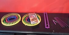 Knifty Knitter Loom Provo Craft  2 sets of 4 PLASTIC ROUND LOOMS & Long Loom