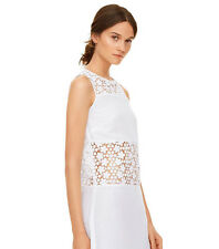 Tory Burch Women's White Linen & Crochet A-line Dress S NWT $325 Cover Up Swim