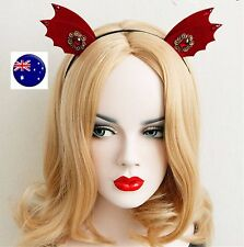 Women Girl Red Devil bat Ear Halloween Costume Party Hair Headband Band PROP