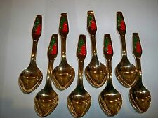 Set of 8 Meka Denmark Gold Plated Enamel Christmas Demi Coffee Spoons Tree King