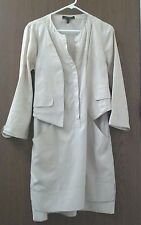 BCBG tan tunic dress above knee, attached vest, blouson, cotton, pockets, sz S