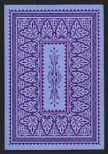 1 Single ANTIQUE Playing Card OLD WIDE SQUARE CORNER Design BLUES & PURPLES