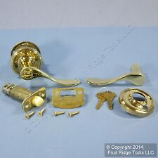 LEFT Weslock Traditonale Bordeau 640 Polished Brass Keylock Lever Door Handle
