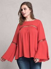 PLUS SIZE TAGGED 4 4X 26 PEASANT BELL SLEEVE TOP SHIRT TUNIC TORRID BOHO RED