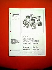 "CRAFTSMAN 36"" 8 HP TRACTOR RIDING MOWER MODEL 917.255260 OWNER'S / PARTS MANUAL"