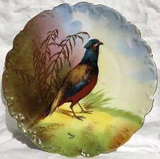 """Vintage C et J Limoges France Rooster Pheasant Game Bird Cabinet Plate Max 10"""""""