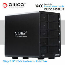 "ORICO Aluminium USB 3.0 to 5Bay 3.5"" SATA Hard Drive Disk HDD Enclosure RAID Box"