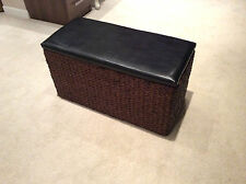 French Chic Wicker Furniture Ottoman Faux Leather Storage Chest Seat Footstool