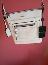 NWT Lauren Ralph Lauren Huet Flat Crossbody Leather Bag with Dust Bag - Vanilla