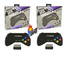 Set of 2 New SNES 2.4 GHz Wireless Gamepad Controllers - BLACK (Super Nintendo)