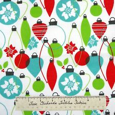 Holiday Christmas Fabric - Red Green Ornament & Bulbs on White - Cotton YARD