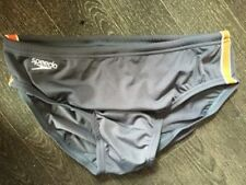 "MENS SPEEDO ENDURANCE 'PULSE' GREY AND ORANGE BRIEF TRUNKS SIZE 28"" NEW!"
