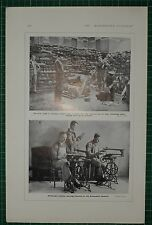 1916 WWI WW1 PRINT ~ CRIPPLED SOLDIERS LIMBLESS ~ FRETWORK DISCHARGED TROOPS