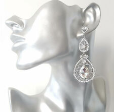 GORGEOUS Long silver tone & diamante - crystal chandelier drop earrings NEW #301