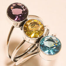 NATURAL BLUE TOPAZ AMETHYST STONE 925 SILVER RING HANDMADE JEWELRY S-10""
