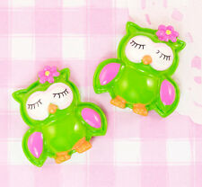 6 x Cute Green OWL w/ Flower Flatback Cabochon Embellishments Decoden Kawaii
