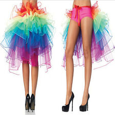 Rainbow Neon Tutu Skirt Rave Party Dance Half Bustle Burlesque Sexy Clubwear DSU