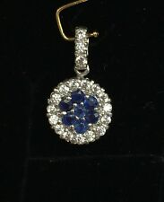 14K Solid White Gold Round Small Pendant, Natural Sapphire With Cubic Zirconia