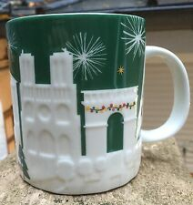 Starbucks Paris France Relief Mug Holiday Christmas 2015 NWT Coffee Green White