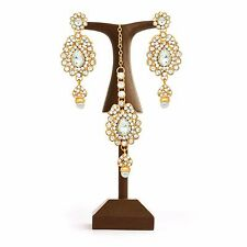 Indian Bollywood Fashion Ethnic Gold Plated Earrings & Tikka Set Women Jewelry