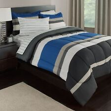 Blue, White & Gray Stripes Boys Teen Queen Comforter Set (7 Piece Bed In A Bag)