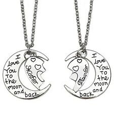 Mom & Daughter Set Half Heart Love You To The Moon and Back Charm Necklaces