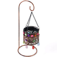 Bejeweled Moroccan Style Copper Lantern Hanging Tealight Candle Holder Home GIFT