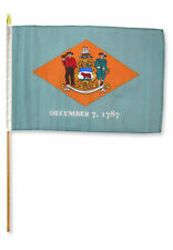 "12x18 12""x18"" State of Delaware Stick Flag wood Staff"