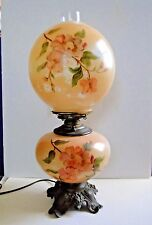 Antique Hand Painted Dogwood Flowers GWTW Parlor Oil Lamp Converted Electric 20""