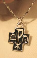 Lovely Small Black Finish Chi Rho Cross Alpha Omega Silvertone Pendant Necklace