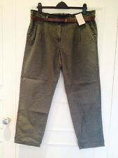 Women's TU Khaki Green Combat Summer Cotton Trousers Size 18, Short 29 Leg, NWT
