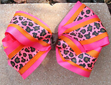 Personalized Embroidered Shocking Pink Orange Cheetah Hair Bow for Girl's