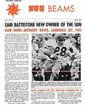 ORIGINAL SPRING 1975 SOUTHERN CALIFORNIA SUN WORLD FOOTBALL LEAGUE NEWSLETTER