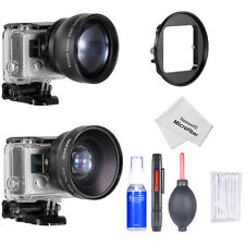 52MM 0.45x Wide Angle Lens +2x Telephoto Lens+Adapter+ 5-in-1 Cleaning Kit GoPro