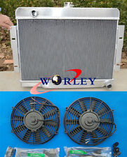 "For 72-86 Jeep CJ Series CJ5 CJ7 w/ Chevy V8 Aluminum Radiator + 2 X 10"" FANS"