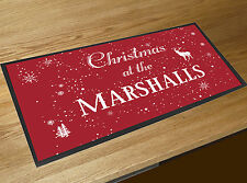 Personalised Christmas family name Red table bar runner decoration mat