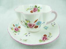 SHELLEY CUP AND SAUCER - DAINTY SHAPE - ROSES & RED DAISY 13425