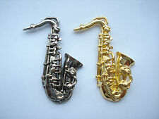 SAXOPHONE SAX BLUES BAND ACID JAZZ MUSIC GOLD SILVER METAL PIN BADGE LOT 99p