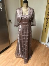 J S COLLECTION LACE BEADED FORMAL GOWN DRESS W/BOLERO MOTHER OF THE BRIDE 14