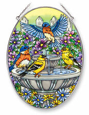 AMIA STAINED GLASS SUNCATCHER 6.5 X 9 OVAL FOUNTAIN FESTIVITIES BIRDS  #42426