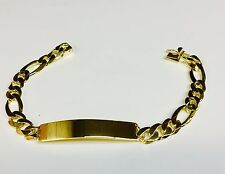 14k Solid Yellow Gold Handmade Men's ID Figaro Link Bracelet 9 mm 30 grams 8.5""