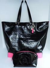 JUICY COUTURE Black Embossed RIHANNA Large TOTE Handbag + Large POUCH $180 MSRP!