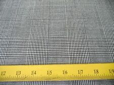 "Glen Plaid Hathaway Wool Fabric Grey Black Cream 62"" Wide 4 Suits Home Decor"