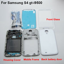 White housing middle frame back cover glass screen replacement galaxy s4 i9500