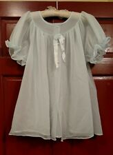 Shadowline Palest Blue Sheer Chiffon Pinup Bed Jacket Robe Size M