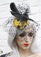 Yellow And Black Polka Dots Net Veil Fascinator Rockabilly Bridal Style Races